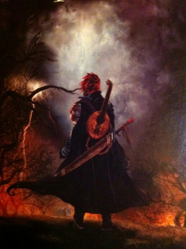 Soon after his parents were killed, a devastated Kvothe recovered his fathers lute and hid in the woods, surviving off of wild game. His mind went into shock, blocking off most of his memories of his parents and what he had learned about magic and science. To occupy himself, he practiced the lute until all the strings broke.