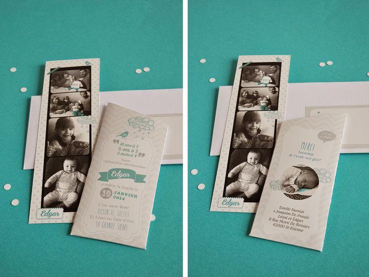Arrête de Rêver - Faire-part: Naissance Edgar : Blanc et turquoise