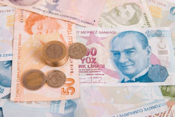 turkish lira background with coins