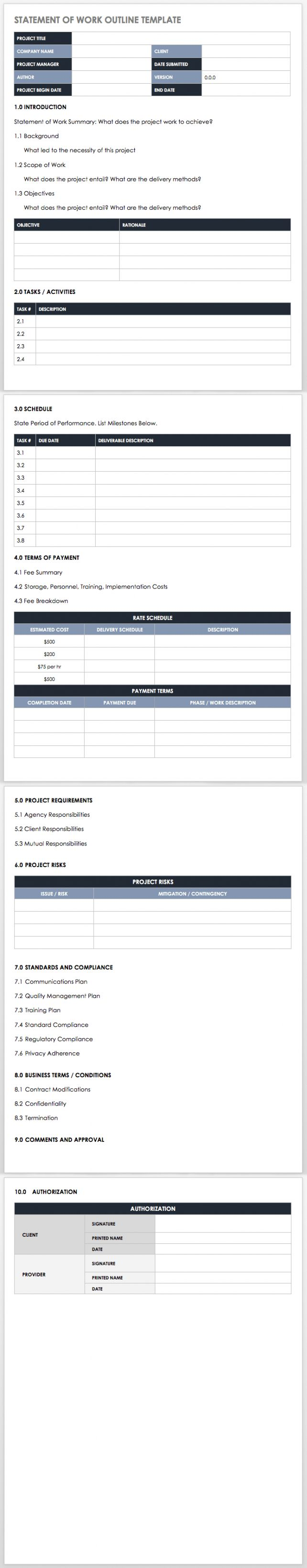 Free Scope Of Work Outline Template Excel In 2021 Statement Of Work Smartsheet Statement Template Free scope of work template