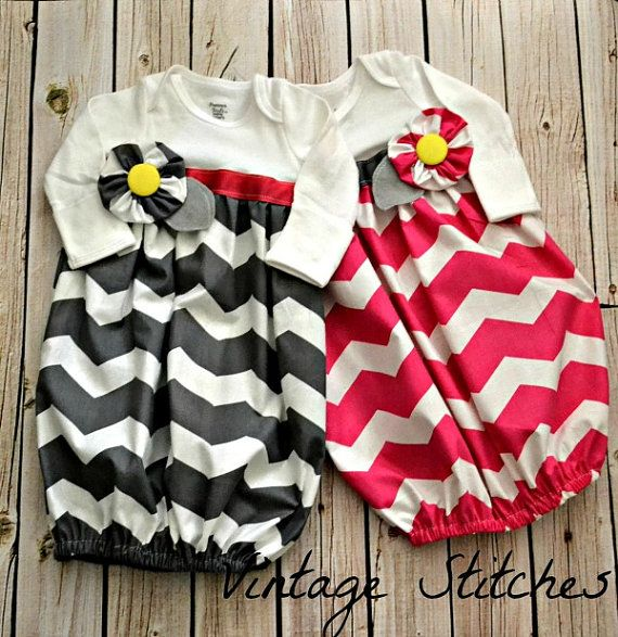 Baby Layette Chevron Gown Coming Home Outfit by vintagestitches