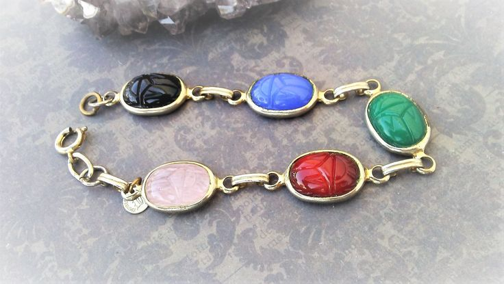 Scarab Bracelet-Egyptian Jewelry-Egypt Bracelet-Vintage Gold Tone-Vintage Scarab-Mixed Colors-Scarab Beetle-Egypt Jewelry-Egyptian Scarab by 23littlewishes on Etsy