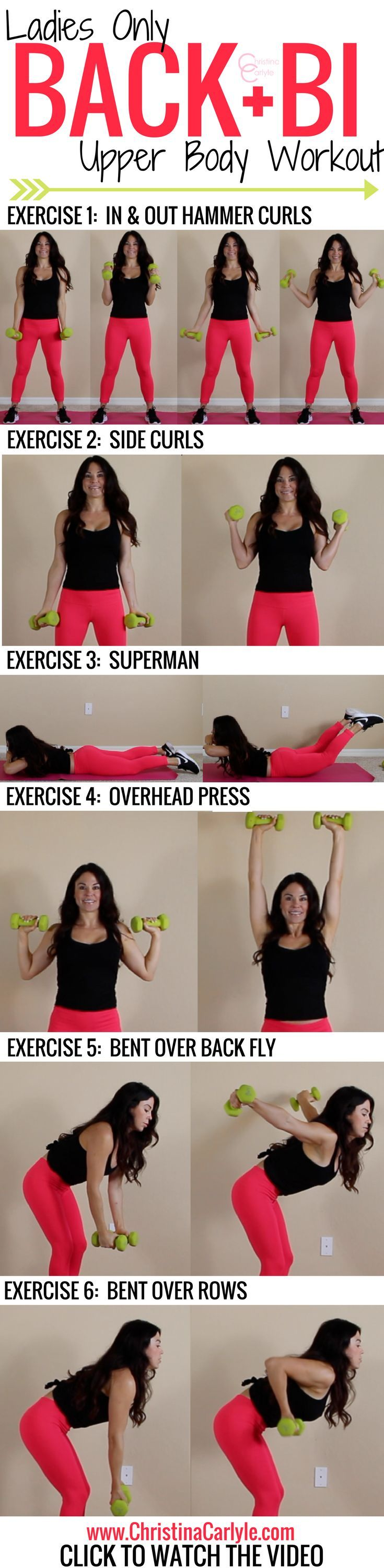 An easy, but effective back and bicep workout for women. This complete back and biceps workout has 6 exercises that are perfect for women.