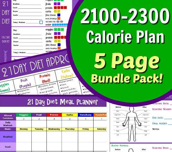 21 Day Diet Plan for 2100-2300 Calorie Bracket 5 by JeanieandJoan