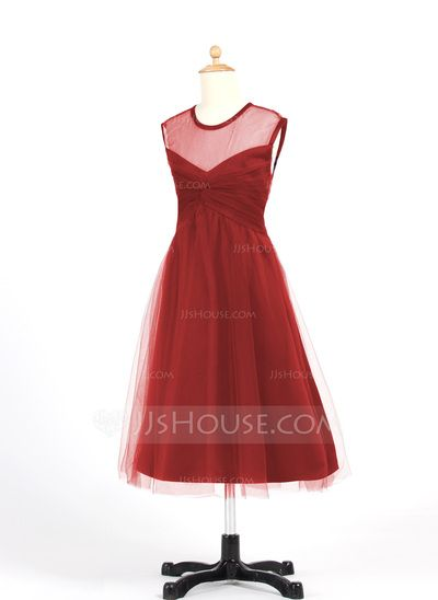 A-Line/Princess Scoop Neck Tea-Length Tulle Junior Bridesmaid Dress With Ruffle (009022483)
