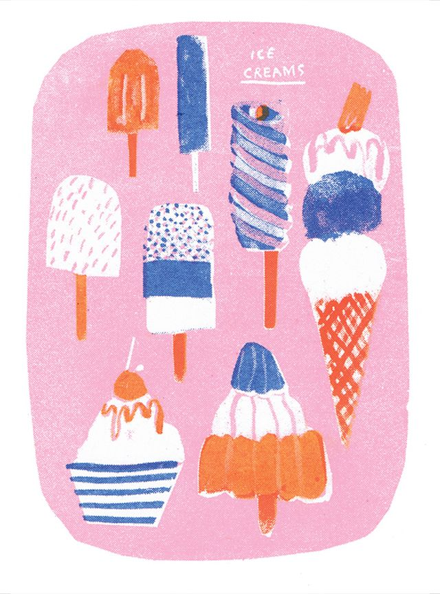 Ice Cream Risograph - Louise Lockhart | Illustration | Design | The Printed Peanut