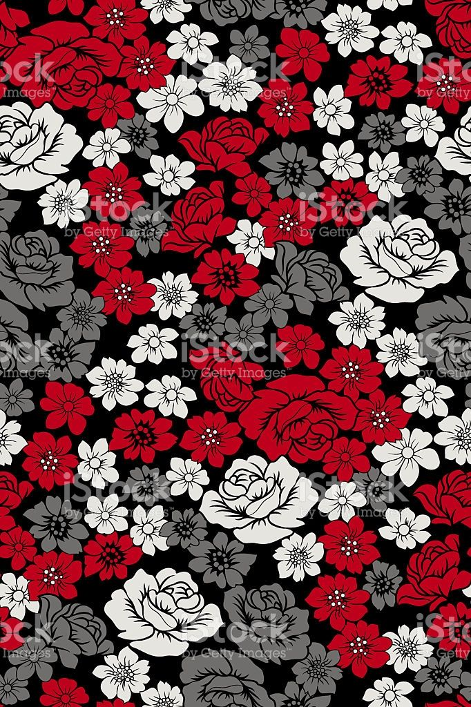 red grey pattern flowers royalty-free stock photo