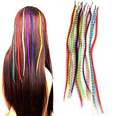 18X Strähnen Haarverlängerung Extensions Haarteil Feder