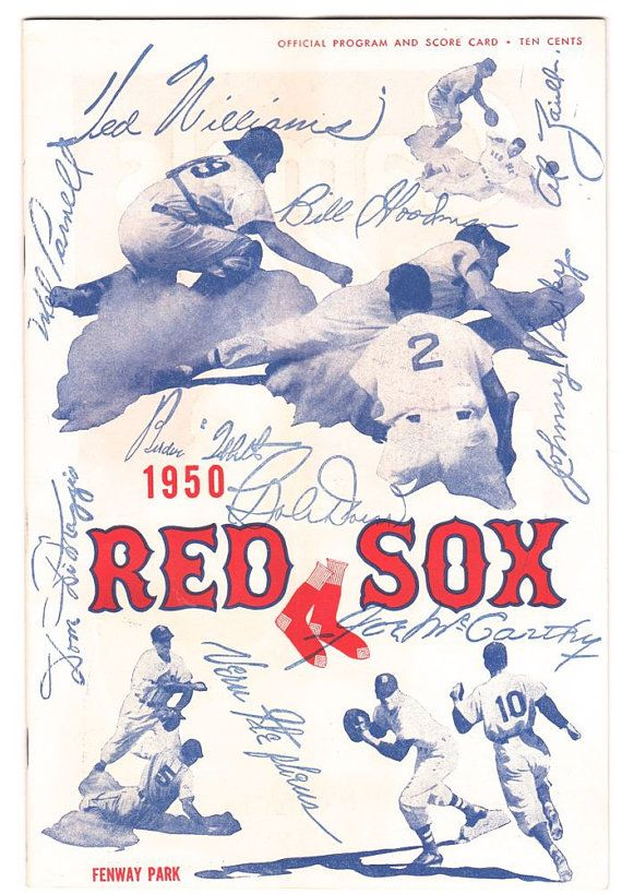 Vintage 1950 Red Sox Program Baseball Score Card by SunshineBooks
