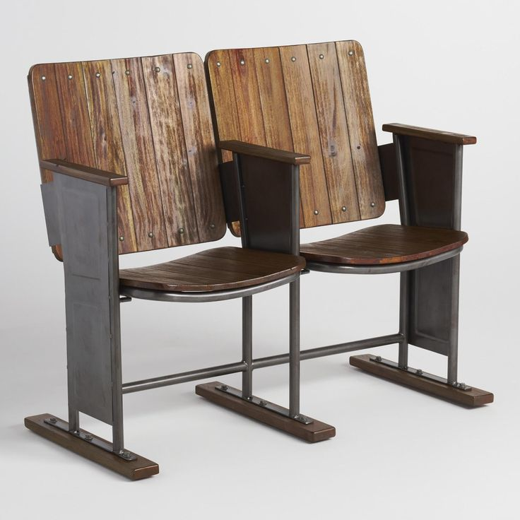 Reminiscent of baseball stadium seating, our seats are crafted of wood and distressed for a timeworn look. With seats that flip up, this fun piece brings retro charm to any space.