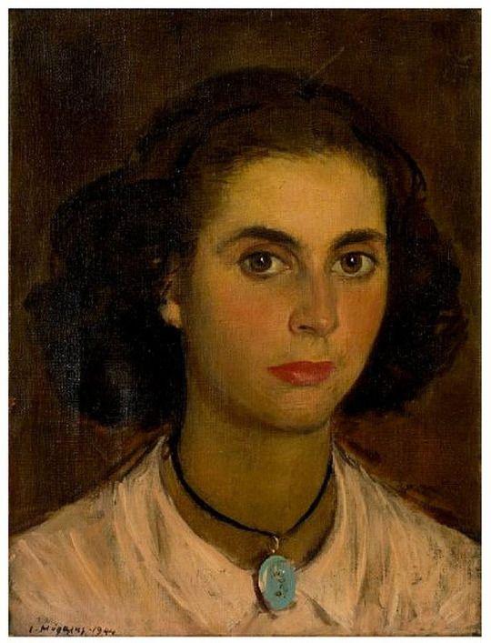 Yiannis Moralis (1914-2009) Γιάννης Μόραλης - Πορτραίτο νεαρής κυρίας, 1944