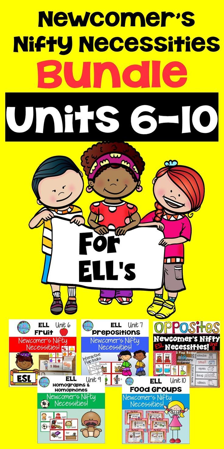 ESL Activities Units 6-10 -Do you need help when a new student enters your classroom that does not know English? This English Language Learner's Bundle will help make your ELL's transition into the classroom easier! It includes five units any ELL needs to increase ESL VOCABULARY quickly!. Detailed Lesson Plans are included based on WIDA standards. This is my SECOND BUNDLE of ESL Units. Units 6-10  It includes 5 newcomer ELL resources! (Fruit, Prepositions, Opposites, Homophones and…