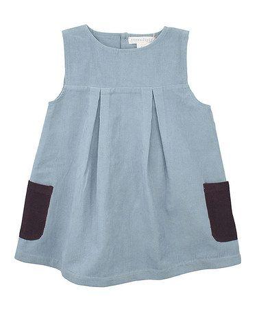 Dusty Blue Corduroy Pleated Babydoll Dress - Girls by Serendipity Organics on #zulily today!