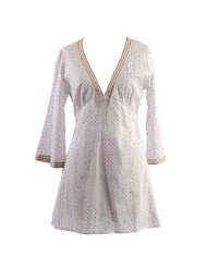 Elegant White & Gold Cotton Tunic Beach Cover Up
