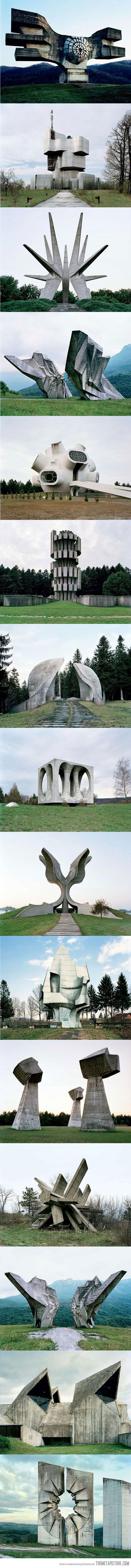 The third one down looks like an homage to the Witch-king of Angmar... Abandoned monuments that look like they're from the future