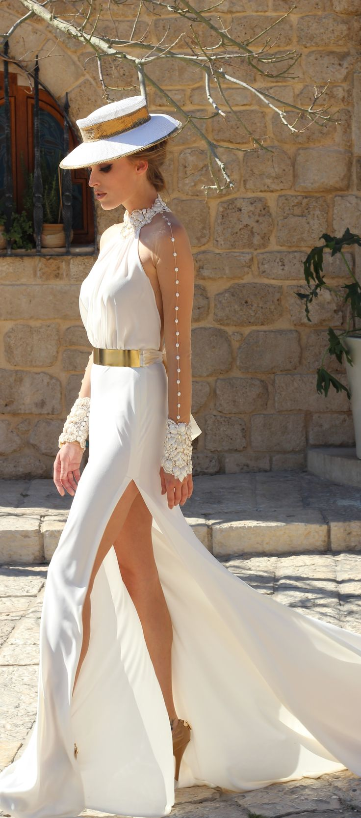 The dress becomes a part of you flrorentina dress for Wedding dress with swag sleeves