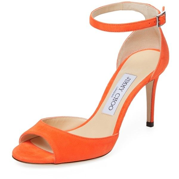 Jimmy Choo Women's Annie 85 Suede Sandal - Orange, Size 36 ($350) ❤ liked on Polyvore featuring shoes, sandals, orange, heeled sandals, ankle strap sandals, suede shoes, ankle strap heel sandals and wrap around sandals