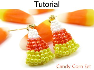 Beaded Candy Corn Halloween Earrings Beading Tutorial Pattern Instruction Directions | Simple Bead Patterns