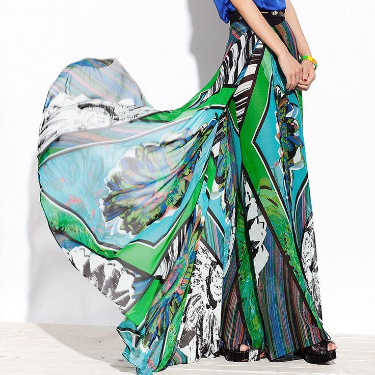 2013 summer women's print chiffon wide leg pants high quality chiffon pants trousers culottes loose long trousers casual $66.93