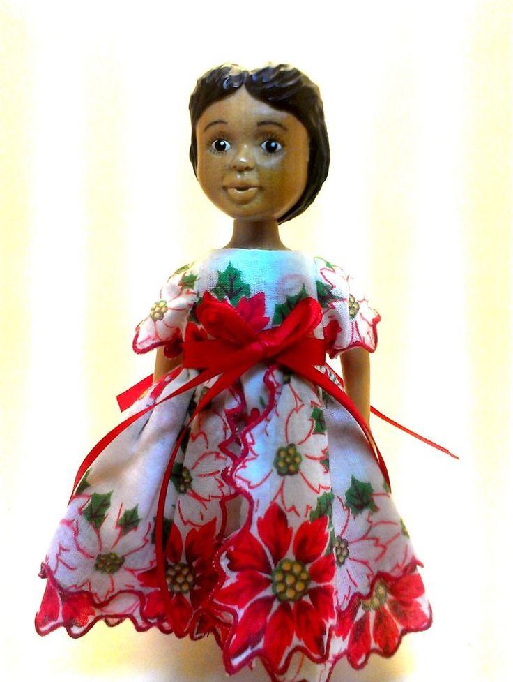 OOAK CUSTOM Hitty Doll Vintage Christmas Hanky Dress with Poinsettias Free Ship! $21
