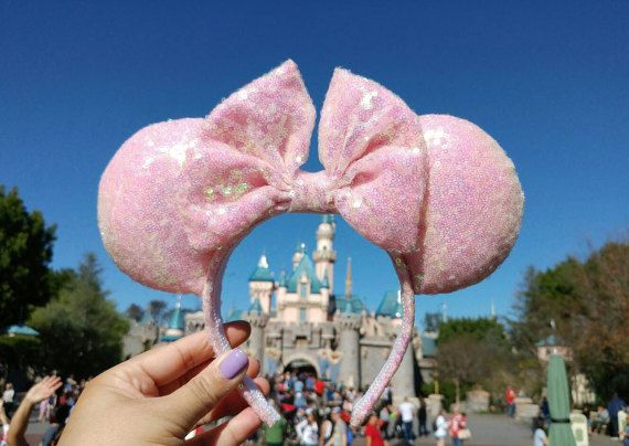 Unicorn Pink Iridescent AB Sequined Disney Inspired Minnie Mouse Park Ears w/ Large <strong>ободок</strong> Bow. READY to SHIP!