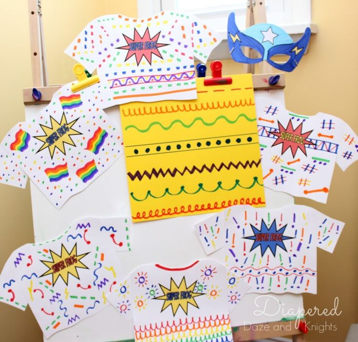 Make your own superhero shirts as party activity