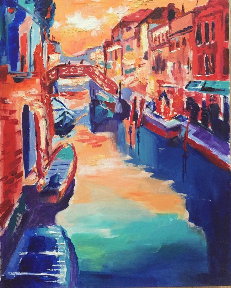 Water under the bridge, oil & canvas, art, painting Venice