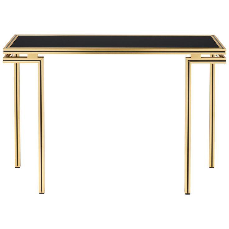 Vintage Black Glass Top Brass Console Table by Pierre Vandel 1
