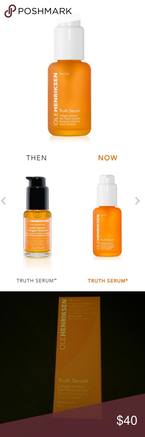 OLE HENRIKSEN TRUTH SERUM BRAND NEW OLE HENRIKSEN TRUTH SERUM Brightens, firms, fights visible signs of aging and delivers all-day hydration  Truth Serum is like a daily multivitamin for the skin & Ole Henriksen's #1 age-defying serum. Ole was an early adopter of vitamin C in skincare, believing that its antioxidant properties & role in promoting collagen make it a crucial ingredient. Supercharged with True-C Complex™ & collagen. potent age-defying serum helps brighten & firm the skin as it…