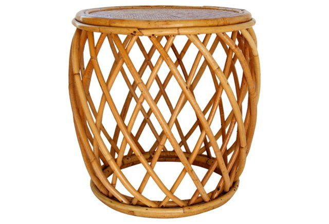 Midcentury  Drum-Style Bamboo Table