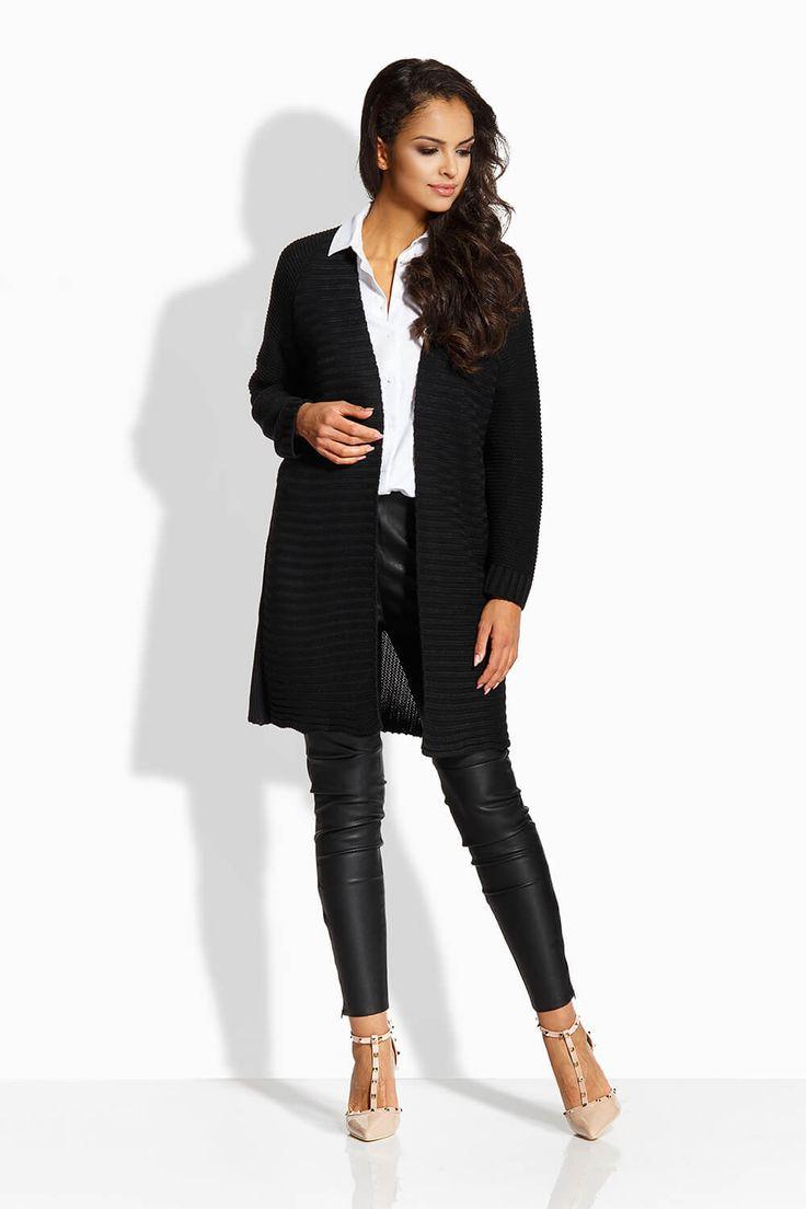 Cardigan elegant de dama negru cu lungime medie si maneci lungi.  #cardigandama #cardigantricotat #cardiganedama