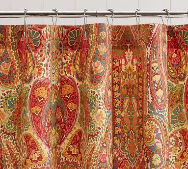 Rosalie Paisley Shower Curtain Orange Paisley Shower