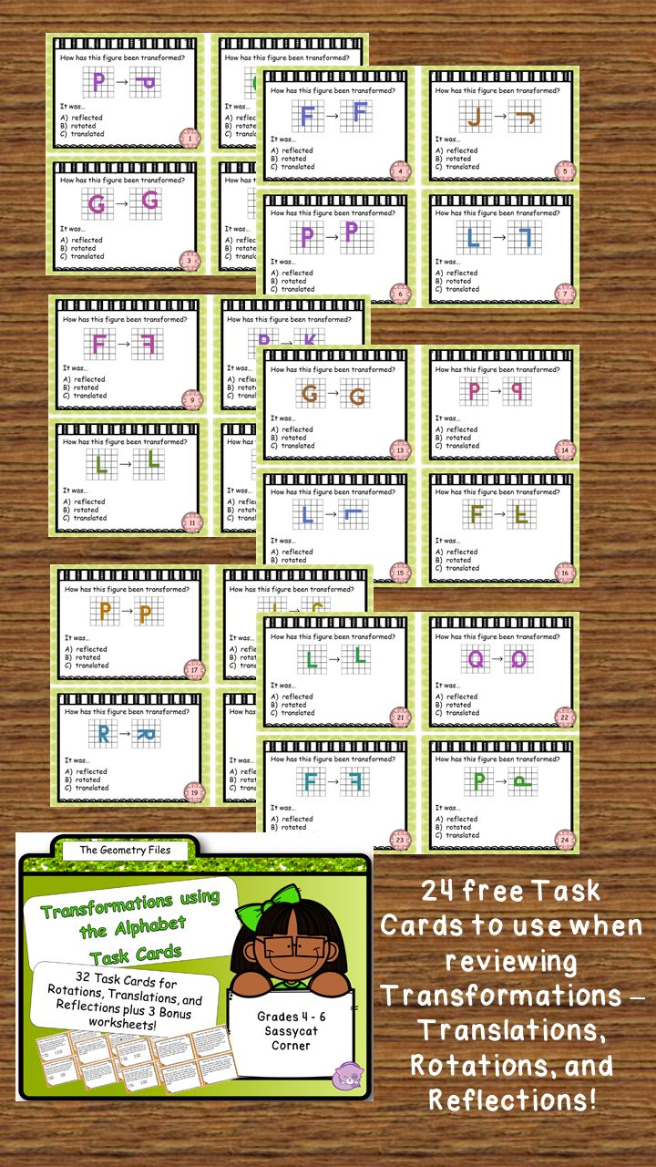 24 Free Task Cards For Rotation Reflections And Translations Geometry Task Cards Translations Math Math Task Cards [ 1280 x 720 Pixel ]