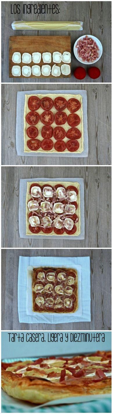 Hojaldre con tomate, queso de cabra y bacon