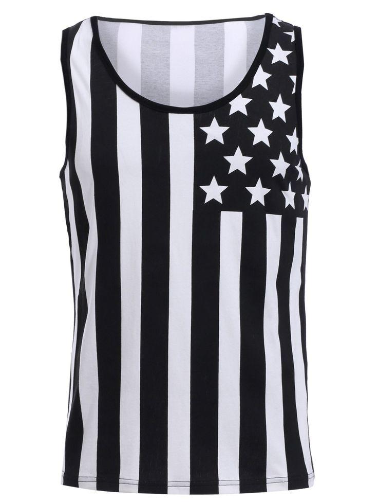 $10.80 Color Block American Flag Print Round Neck Tank Top For Men
