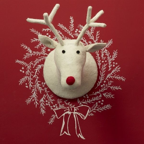 Reindeer head wall decor for Christmas reindeer decorations