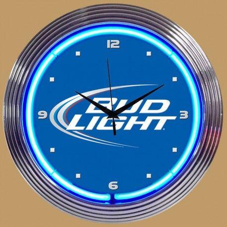 Horloge Lumineuse avec Néon Bleu Bud Light