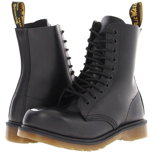 Dr. Martens Maine Steel Toe Cap Boot Lace-up Boots ($77) ❤ liked on Polyvore featuring shoes, boots, black, long boots, laced boots, long black boots, toe caps and cap toe boots