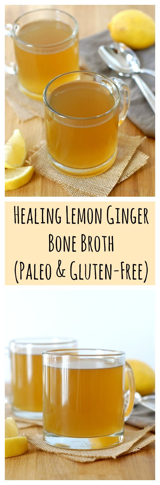 Healing Lemon Ginger Bone Broth (Paleo & Gluten-Free) - I would sub grass-fed butter, ghee, or coconut oil in this recipe!