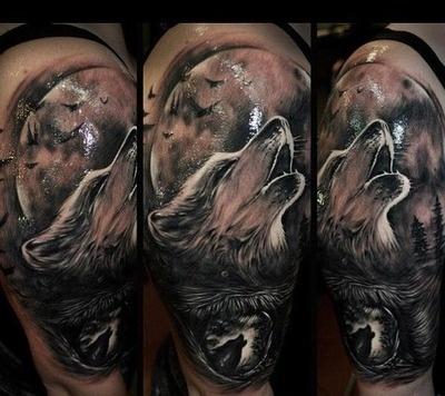 Beautifully Done Wolf Tattoo