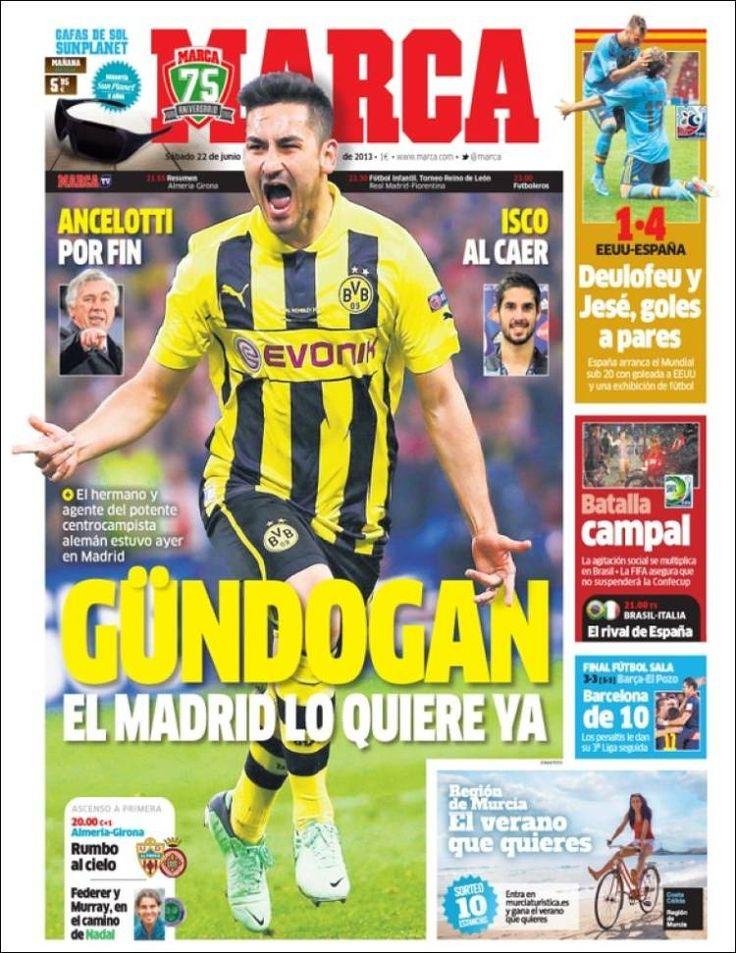 Los Titulares y Portadas de Noticias Destacadas Españolas del 22 de Junio de 2013 del Diario Deportivo MARCA ¿Que le parecio esta Portada de este Diario Español?
