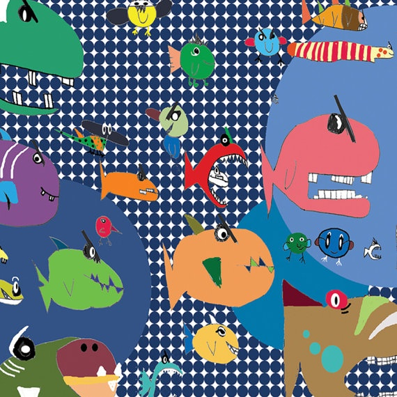 Children's art print room décor Quirky Fish by OzscapeDesigns, $15.99