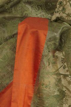 kota silk pistachio green saree with blouse