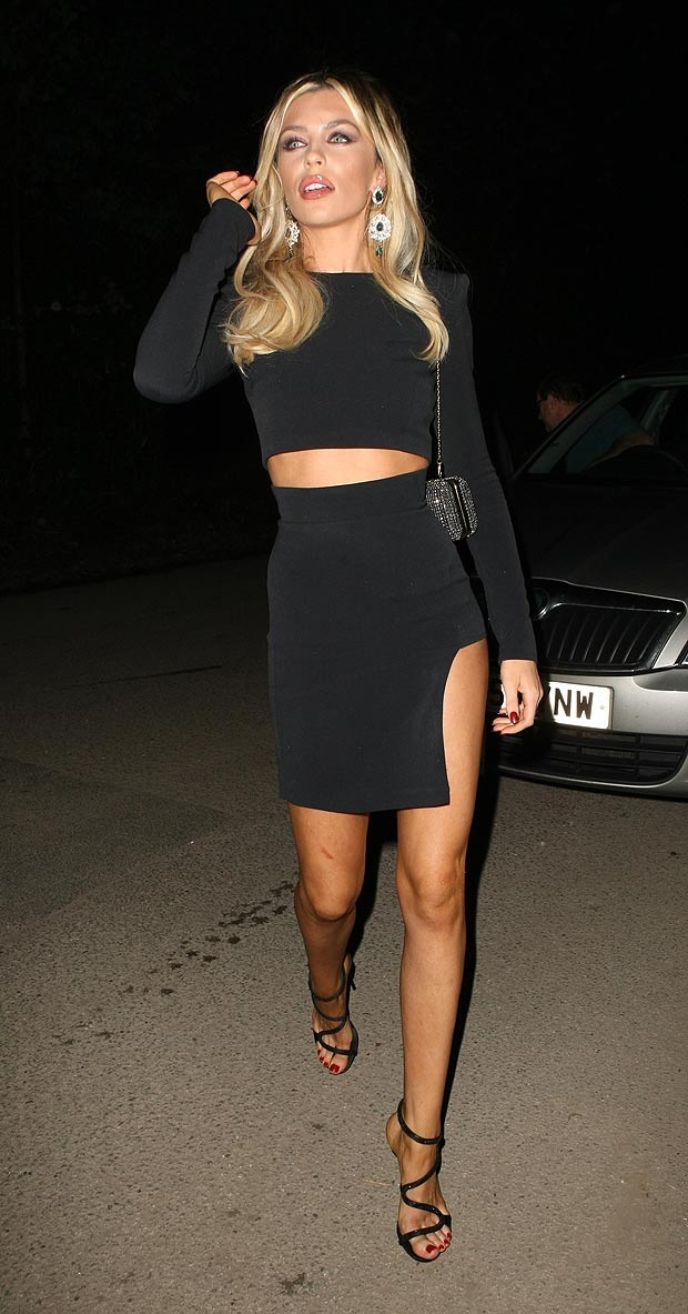 Abbey Clancy, shoes and dress