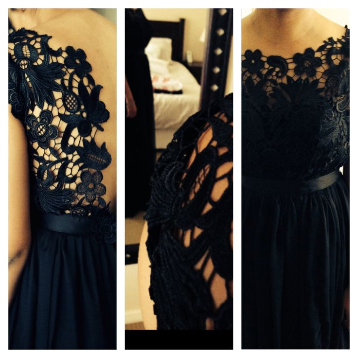 Black guipure lace and chiffon dress with waistband detail