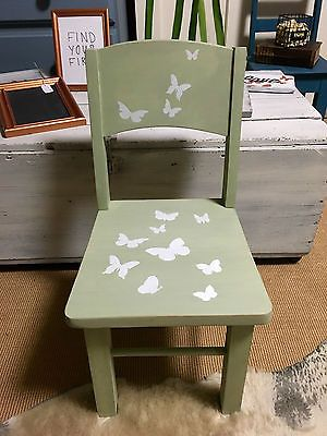 Antique Child Toddler Chair Painted in Milk Paint Green with Butterfly stencils