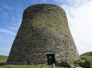 Broch of Mousa. The finest preserved example of a broch, or round tower, in Shetland, Scotland. It is the tallest still standing in the world and amongst the best-preserved prehistoric buildings in Europe. It is thought to have been constructed circa 100 BC, one of 570 brochs built throughout Scotland. The site is managed by Historic Scotland.