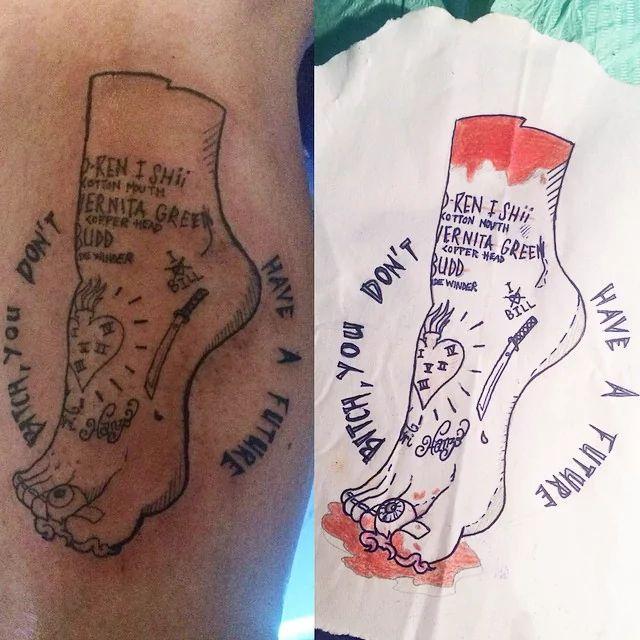 Severed foot from 'Kill Bill' tattoo by Kash Pinippler