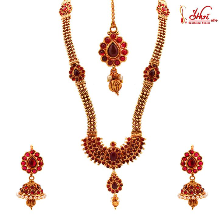 Traditional Temple Kemp Stone Haram Necklace Set