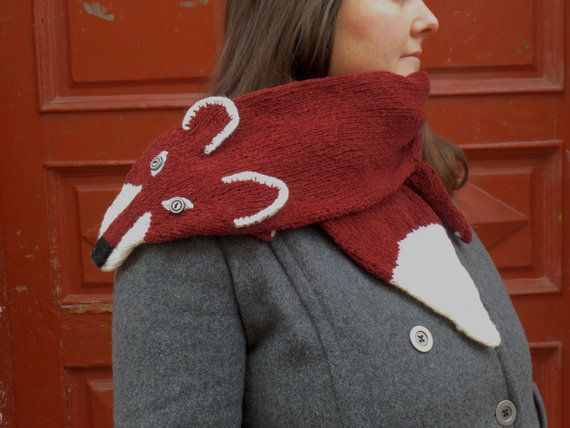 brown chenille FOX scarf hand made warm scarf by giantscanfly